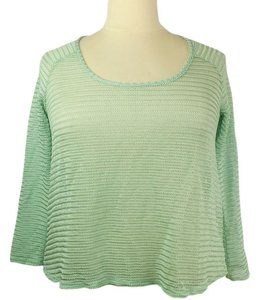Tattoo Me Plus Size Fashions Open Weave Metallic Mesh A-line Top Spring Green