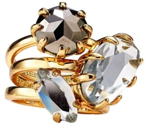 Rebecca Minkoff Rebecca Minkoff Women's Gold Starry Rings, Set Of Three stackable gemstone rings