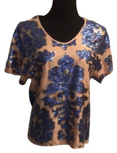 Tracy Reese Top Blue/beige/gold