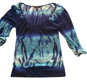 Express Blue Sheer Top Light/Dark Blue