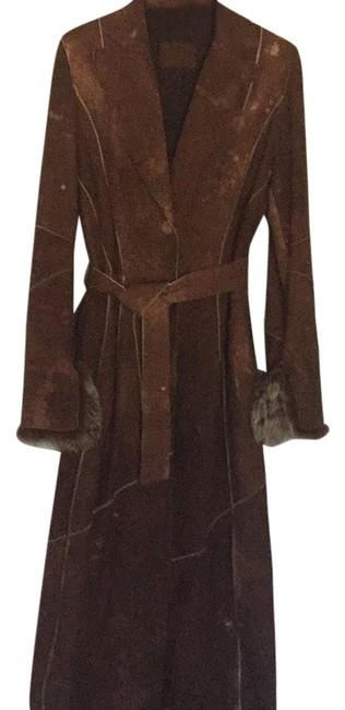 Item - Cappuccino with Beige Natural Markings Leather Maxi Coat Size 6 (S)