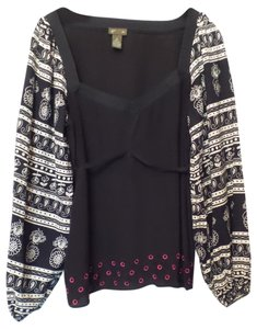 FEI Silk Anthropologie Blouson Embroidered Medium Tunic