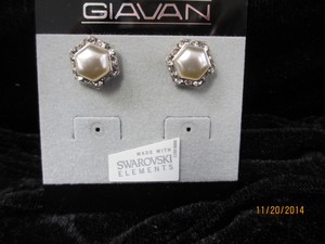 Giavan Glass Pearl Earrings L421e (e-34)