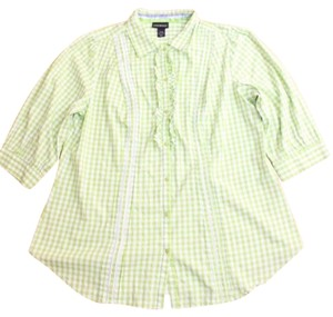Lane Bryant Cotton Flourescent Button Down Shirt GREEN