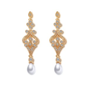 Grogeous Vintage Style Gold Plated Bridal Drop Earrings