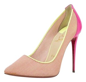 Christian Louboutin Pigalle Heels Patent Fluorescent Pink Green Pumps