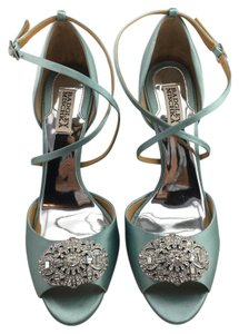 Badgley Mischka Sari Crystal Pumps Open Toe Seafoam Sandals