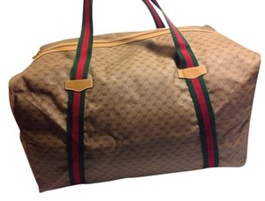 Gucci Travel Duffle Leather Vintage Guccissima Travel Bag