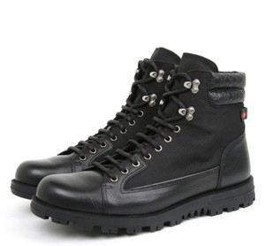 Gucci New Gucci Men's Black Leather/fabric Hi-top Sneaker W/web Detail Size 8.5 G / Us 9295321 1069