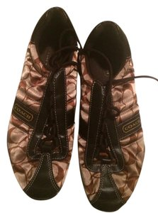 Coach Brown/tan sateen and leather Black soles Flats