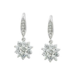 Giavan Silver Floral Cz Drop T7482 (E35) Earrings