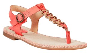 Sperry Leather Cushioned Footbed Coral Sandals