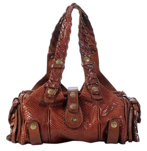 Chloé Whipstitched Cl.k0615.08 Snakeskin Snake Cognac Satchel in Brown
