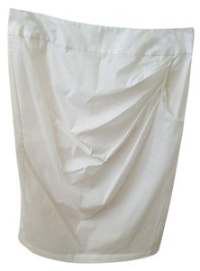 TSE Cotton Blend Knee Skirt Ivory