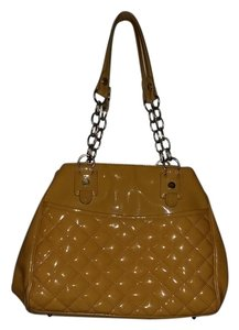 Maxx New York Chains Yellow Large Leopard Print Vinyl Shoulder Bag