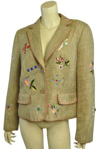 Focus 2000 Embroidery Bohemian Sequin Floral Jewels Honey Blazer