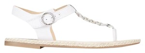 Sperry Leather Cushioned Footbed Thong Buckle Closure White Sandals