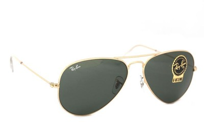 1344680394 Ray-Ban Gold Classic Green G-15 Aviator Rb3025 L0205 Sunglasses - Tradesy