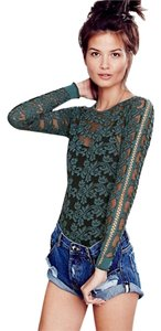 Free People Floral Lace Stretch Emerald Larger Sz Could Wear Sweater
