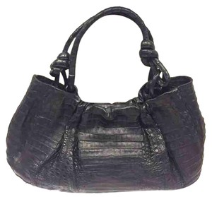 Nancy Gonzalez Black Crocodile Large Shoulder Bag