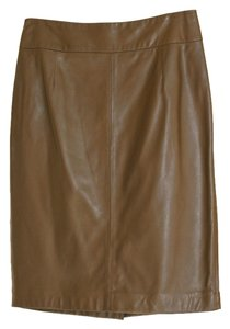 Anne Klein Pencil Leather Women Skirt Brown