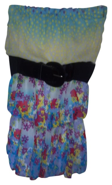 Point short dress multi, white, blue, yellow on Tradesy