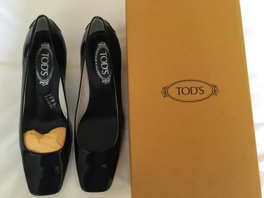 Tod's Black Patent Wedges Image 1