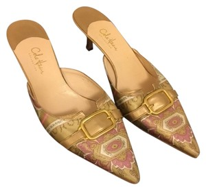 Cole Haan Kitten Satin Leather Pink Beige Pattern Mules
