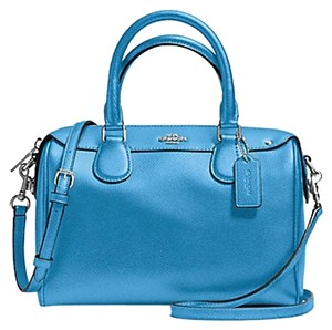 Coach Small Classic Strap Zip Top Leather Satchel in Blue
