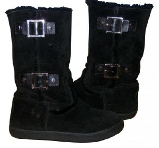 Tory Burch Suede Shearling Leather Designer Moccasin Black Boots