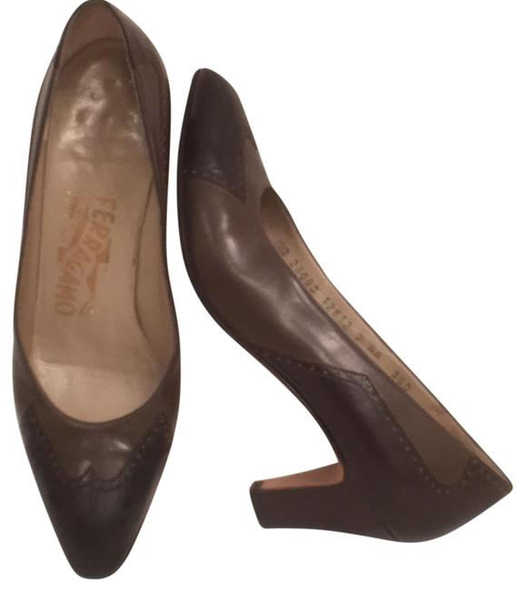 Item - Brown Green Classic Vintage Leather Wingtips Pumps Size US 7 Narrow (Aa, N)