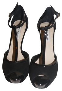 Steve Madden T Strap Peep Toe Black Suede With Shiny black patent Pumps