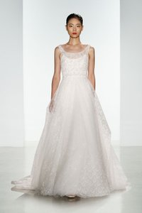 CHRISTOS White Tulle Hand Beaded Bodice Chantilly Lace Claire Modern Wedding Dress Size 8 (M)