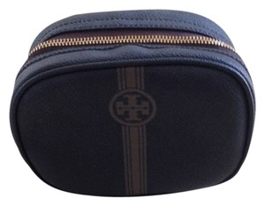 Tory Burch Tory Burch Robinson Cosmetic Bag with Brown Tory Logo on Front. Brown Strip on front and back. Interior is black. Zipper to open and close.