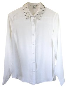 Forever 21 21 Blouse Beading Button Down Shirt White