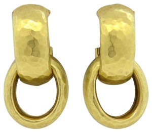 Paloma Picasso Tiffany & Co, Paloma Picasso 18K Hammered Gold Earrings, hoop & post