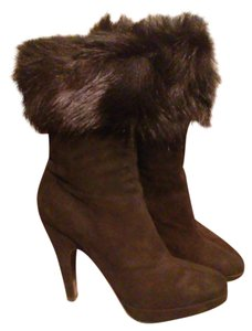 Prada Leather Fur Suede Black Boots