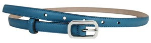 Gucci New Gucci Leather Skinny Belt Silver Buckle Size 90/36 354659 4618