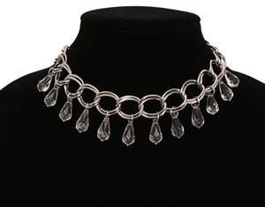 New Silver Teardrop Beaded Chain Link Choker Necklace
