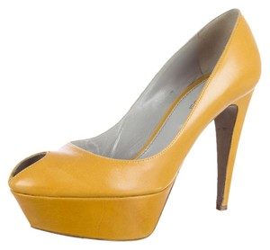Sergio Rossi Leather Italian Imported Yellow Pumps