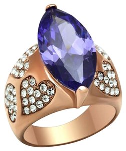 Tanzanite Cubic Zirconia IP Gold Women Ring