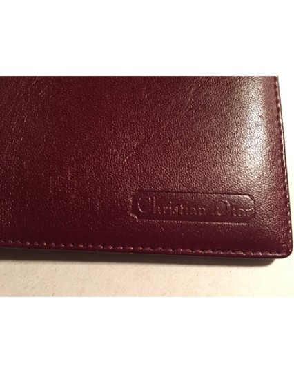 Dior Christian Dior oxblood red CALFSKIN flap wallet / checkbook cover made in SPAIN Image 1