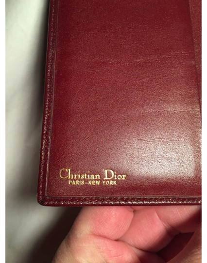 Dior Christian Dior oxblood red CALFSKIN flap wallet / checkbook cover made in SPAIN Image 5