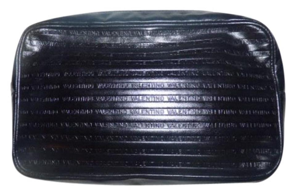 2713b4b4efb Valentino Mint Vintage Dressy Or Casual Chic Sleek Clutch/Cosmetic Black  ribbed and 'Valentino ...