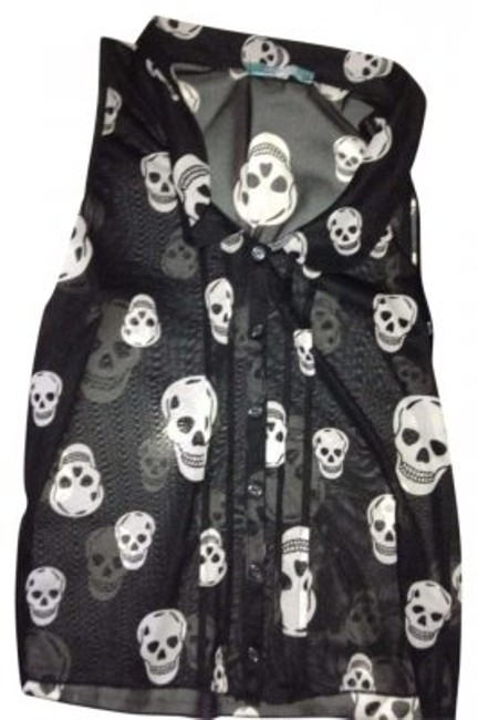 Preload https://item1.tradesy.com/images/julie-s-closet-black-and-white-bottons-skulls-collar-shortsleeved-button-down-top-size-8-m-181445-0-0.jpg?width=400&height=650