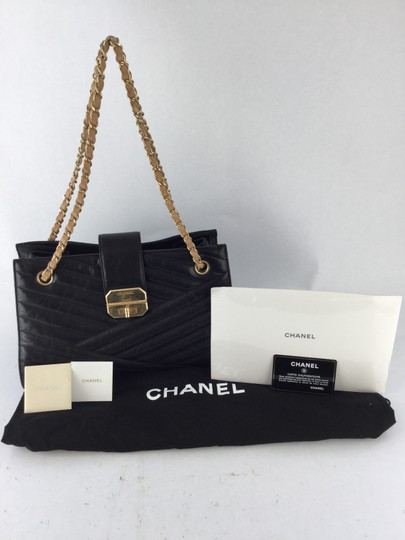 Chanel Coco Tote Chevron Lambskin Quilt Leather Shoulder Bag