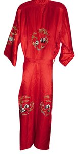 red silk Maxi Dress by REd silk embroidered kimono