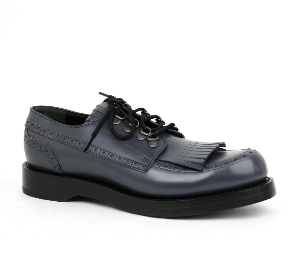 926c9a36fe6c Gucci Bluish Gray Mens Leather Fringed Brogue Lace-up Size 7   Us 8 358271  ...