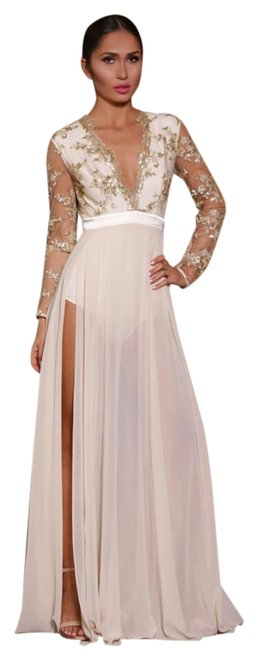 Item - Gold/Cream Chantel Long Night Out Dress Size 4 (S)