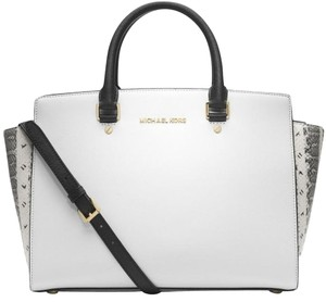 Michael Kors Saffiano Leather Satchel in White Black snake/Gold Tone Hardware